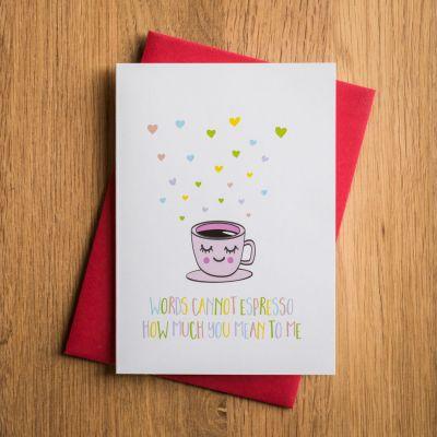 Verjaardagscadeau voor vriend - Valentijnskaart Espresso