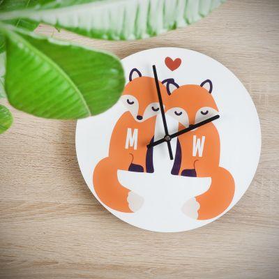 Exclusieve producten - Personaliseerbare vos wandklok voor koppels