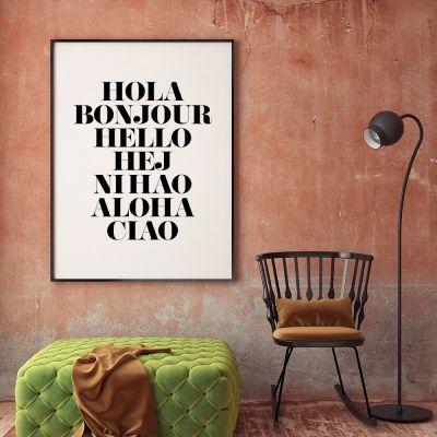 Exclusieve producten - Hola Bonjour poster van MottosPrint