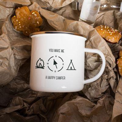 Romantisch cadeau - Metalen mok - Happy Camper