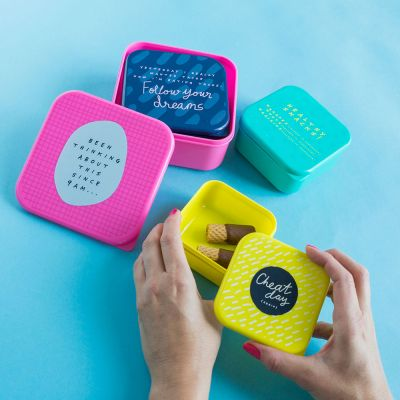 Verjaardagscadeau voor moeder - Notes To Self stapelbare lunchboxes in set van 4