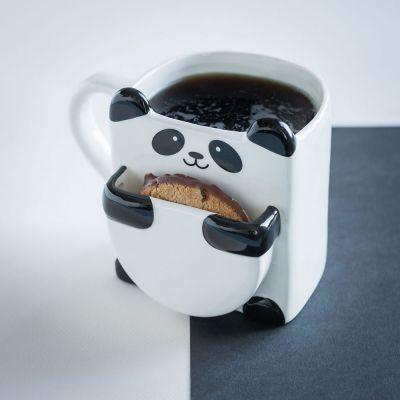 Kopjes & glazen - Panda mok met koekjeshouder
