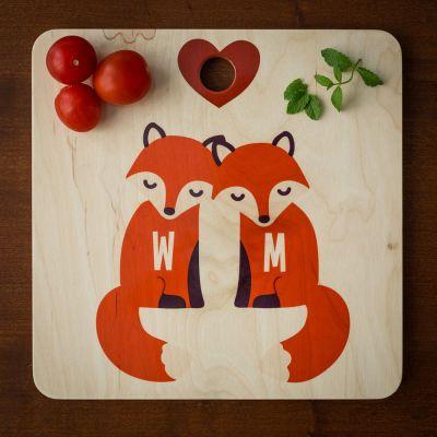 Gepersonaliseerd cadeau - Personaliseerbare vos snijplank