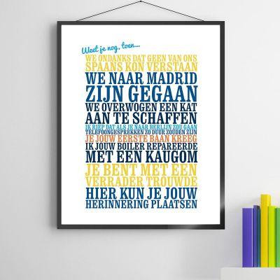 Verjaardagscadeau voor vriend - Weet je nog, toen... - personaliseerbare poster