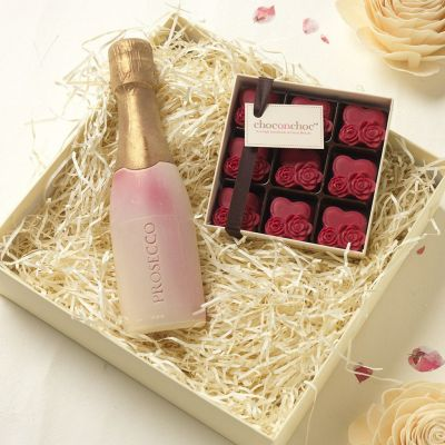 Huwelijkscadeau - Prosecco en hartjes van chocolade