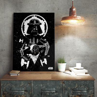Film & Serie - Star Wars metaalposter - Vader Tie Fighter