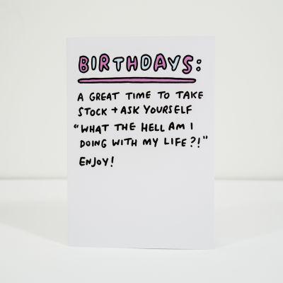 Verjaardagscadeau voor vriend - Take stock wenskaart