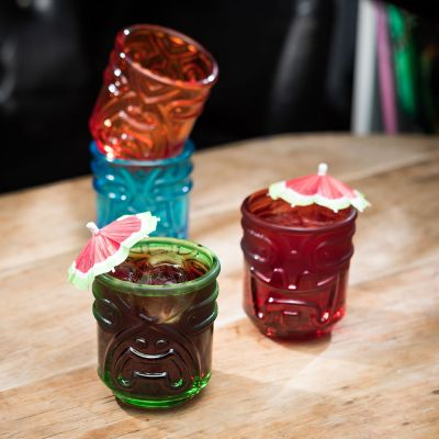 Grappige cadeaus - Kleurrijke Tiki cocktailglazen set van 4
