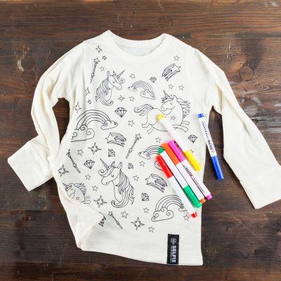 Kleding & accesoires - Eenhoorn T-shirt om zelf te kleuren
