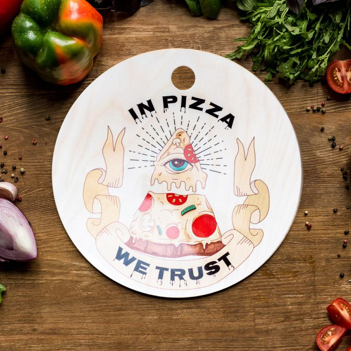 In Pizza We Trust snijplank
