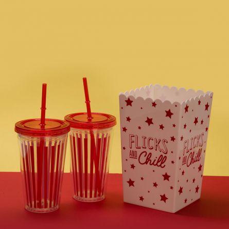 Bioscoop set met popcorn emmer en drinkbeker