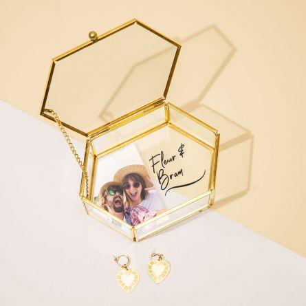 Glazen box met foto en tekst