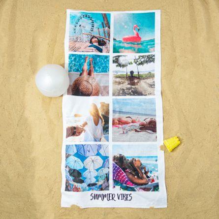 Personaliseerbare handdoek met 8 foto's en tekst