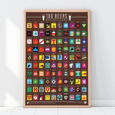 Cadeau voor broer - 100 bieren kras poster