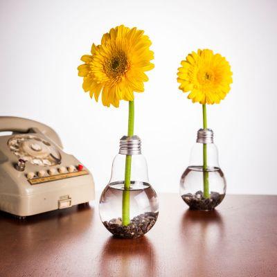 Tuinfeest decoratie - Set van 6 gloeilampenvazen