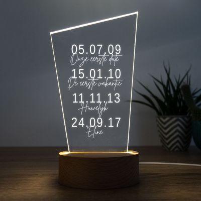 Valentijnscadeau - LED lamp met belangrijke data