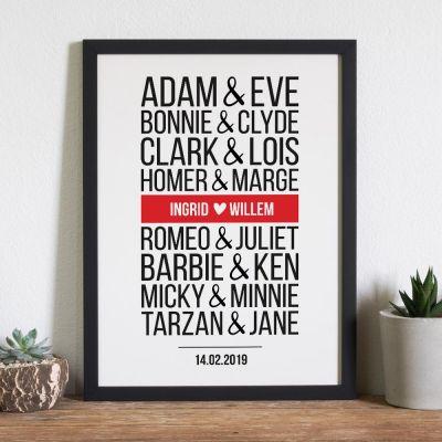 Trouwdag cadeau - Beroemde koppels – personaliseerbare poster