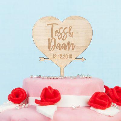 Personaliseerbare taarttopper met hart