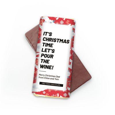 Wijn cadeau - Personaliseerbare rode wijn chocolade
