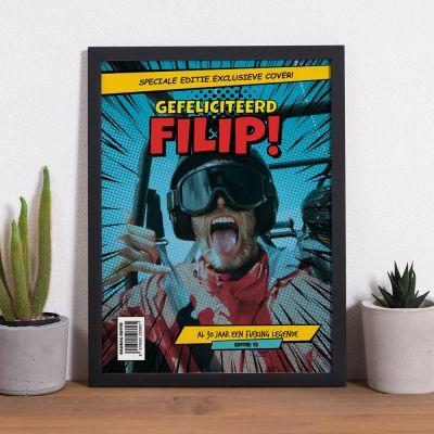 Verjaardagscadeau voor hem - Personaliseerbare poster met tekst en foto in comic stijl