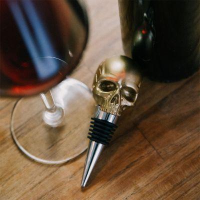 Wijn cadeau - Doodskop flessenstop