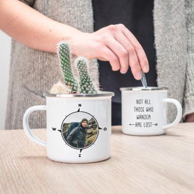 Exclusieve mokken en glazen - Personaliseerbare metalen mok met foto kompas