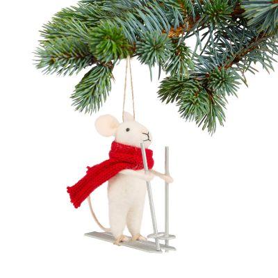 Decoratie - Muis op skies kerstboom decoratie