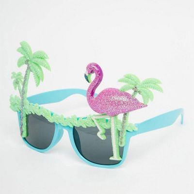 Tuinfeest decoratie - Flamingo zonnebril met palmbomen