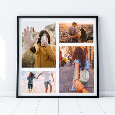 Decoratie - Personaliseerbare poster met 4 foto's