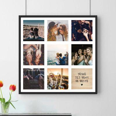 Decoratie - Personaliseerbare poster met 8 foto's en tekst