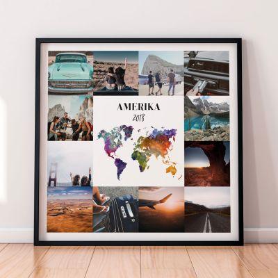 Housewarming cadeau - Personaliseerbare reis poster met 12 foto's