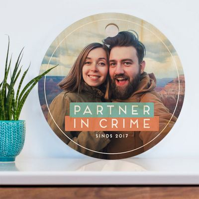Cadeau voor ouders - Ronde personaliseerbare snijplank met foto en tekst