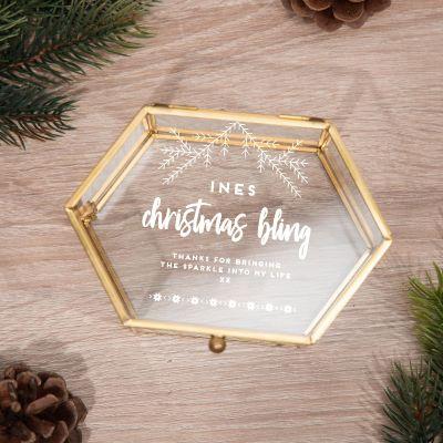 Cadeau voor haar - Winters glazen doosje met 5 regels
