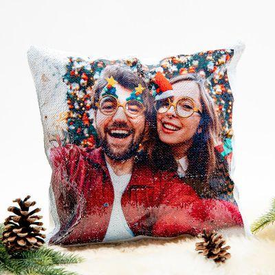 Decoratie - Personaliseerbaar glitter kussensloop met foto