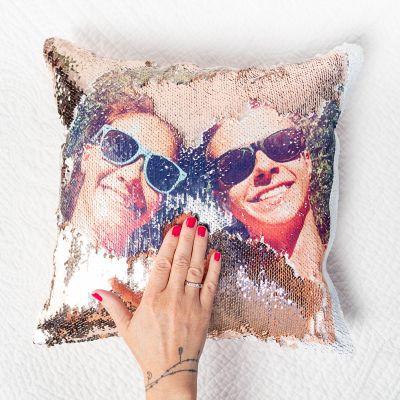 Cadeau idee - Personaliseerbaar glitter kussensloop met foto