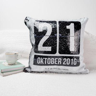 Decoratie - Personaliseerbaar pailletten kussensloop met datum