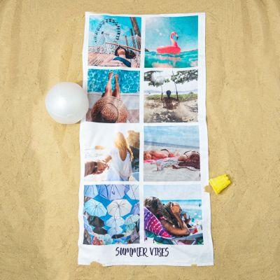 Badkamer - Personaliseerbare handdoek met 8 foto's en tekst
