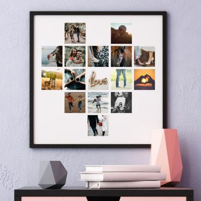 Trouwdag cadeau - Personaliseerbare poster met foto hartje