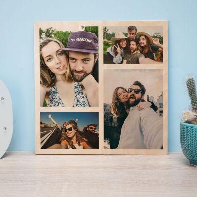 Decoratie - Personaliseerbare foto op hout met 4 foto's