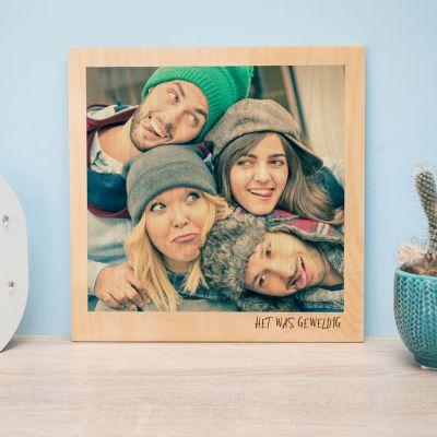 Afscheidscadeau - Personaliseerbare foto op hout in polaroid look