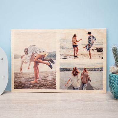 Decoratie - Personaliseerbare foto op hout met 3 foto's