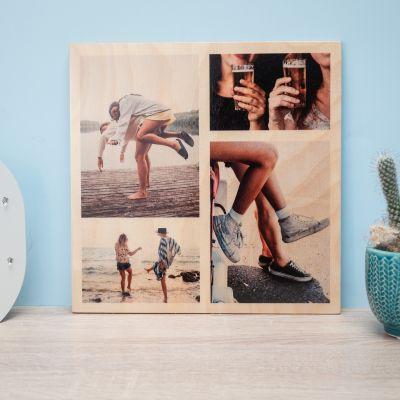 Housewarming cadeau - Personaliseerbare foto op hout met 4 foto's