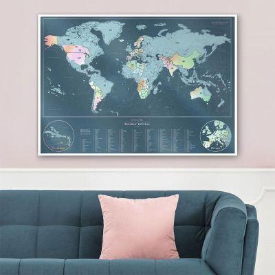 Decoratie - Kras wereldkaart – regenboog editie
