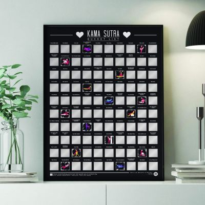Gekke Gifts - Kras poster 100 kamasutra standjes