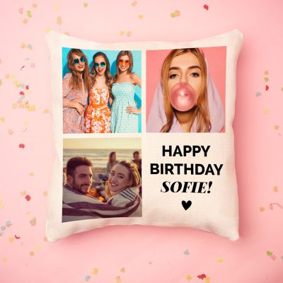 Cadeau voor moeder - Personaliseerbare kussensloop met 3 foto's en tekst