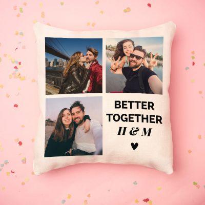 Valentijnscadeau - Personaliseerbare kussensloop met 3 foto's en tekst