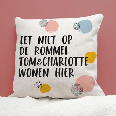 Housewarming cadeau - Personaliseerbare kussensloop met tekst