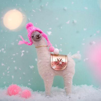 Kerstversiering - Fa La La Lama met roze muts
