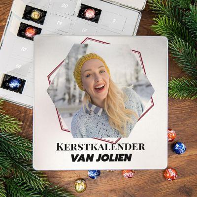 Cadeau idee - Adventskalender – Metalen pralinedoosje met tekst en foto