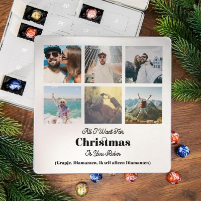 Snoepgoed - Adventskalender – Metalen pralinedoosje met 6 foto's en tekst